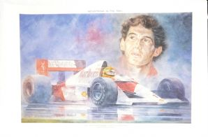 "AYRTON SENNA McLaren MP4/5 ""Reflections In The Rain"" art print by JEREMY MALLARD 3/450"